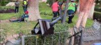 Trabajador cae cuando reparaba una lámpara en Saltillo.