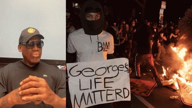 A la izquierda, Rodman; a la derecha, imagen de una de las protestas por el asesinato de Floyd
