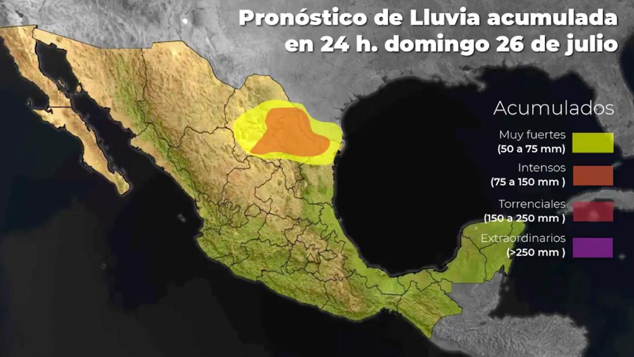 Alerta por lluvias torrenciales en Coahuila, Nuevo León y Tamaulipas; serán ocasionadas por la tormenta Hanna.