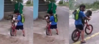 Niño le pone cubrebocas a su perrito para protegerlo del COVID-19