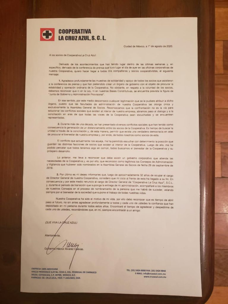 Billy Álvarez renuncia a la Cooperativa del Cruz Azul; es acusado por desvío de 422 mdp
