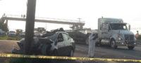 Muere persona en fuerte choque sobre carretera Apodaca-MTY; responsable se dio a la fuga en taxi