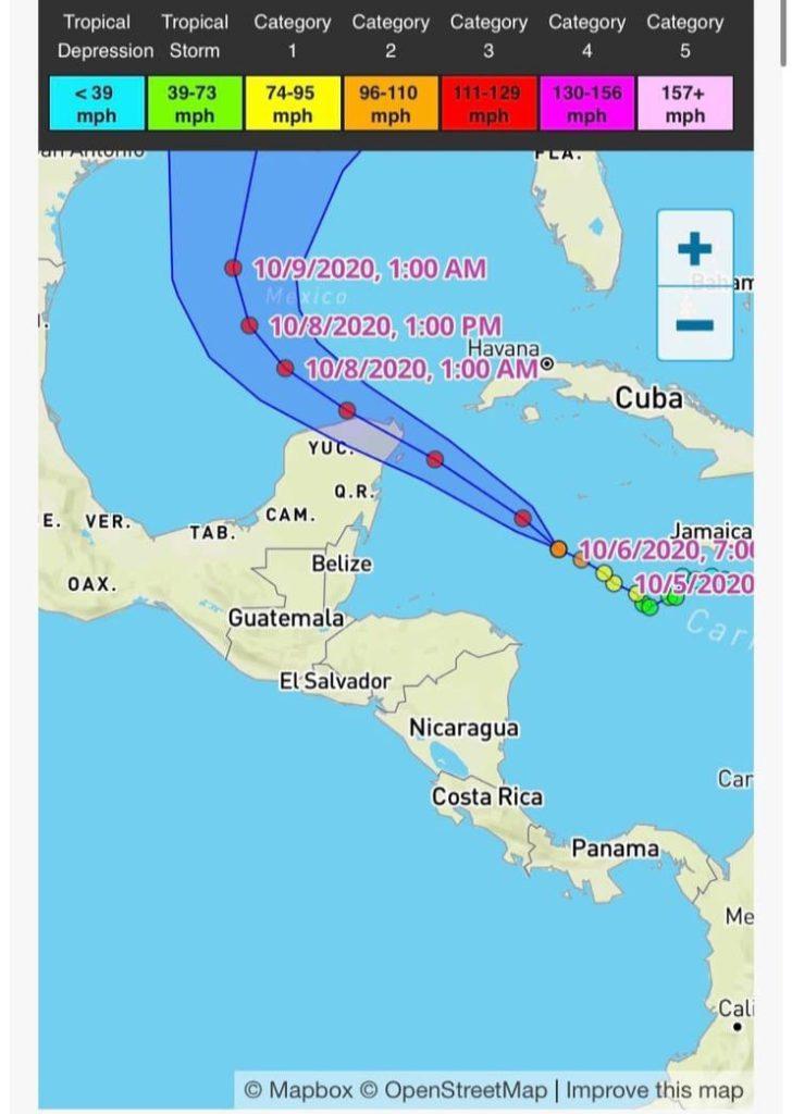 Alerta Roja en 7 municipios de Quintana Roo por el Huracán 'Delta' categoría 2