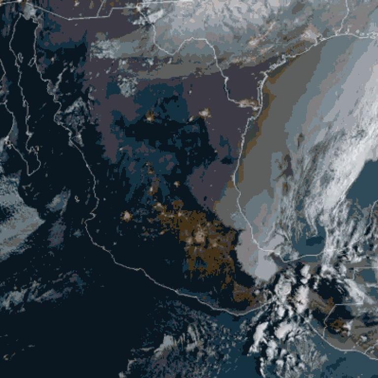 Espectacular imagen satelital del vórtice polar sobre Coahuila y Frente Frío sobre México