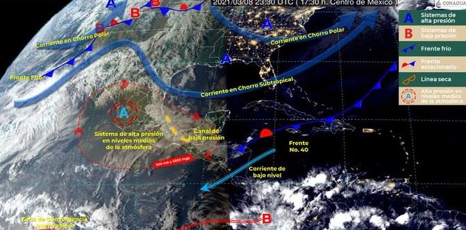 Prevén lluvias con descargas eléctricas y marcado descenso en Coahuila y Nuevo León