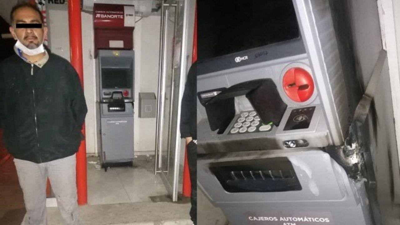 Policiaca: Agarran a exfuncionario municipal saqueando un cajero automático en Hidalgo