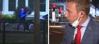 Reportero con nervios de acero se mantiene calmado mientras se desata un tiroteo