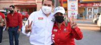 En San Buenaventura apoyan con pega de calcas y caravana a los candidatos del PRI