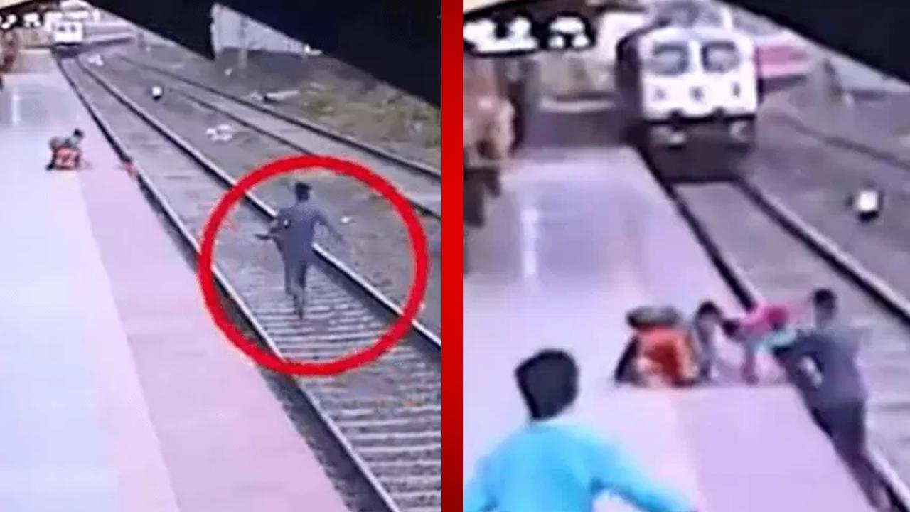 Hombre se tira a las vías para salvar a un niño de ser arrollado por un tren