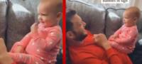 Bebé aprende a comunicarse con su papi usando lenguaje de señas