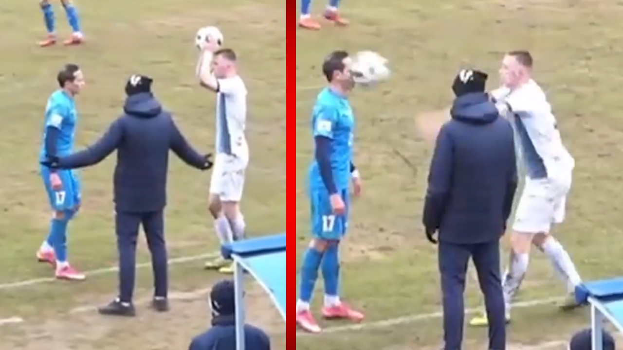 Jugador de futbol hace un saque de banda que deja aturdido al rival... literalmente