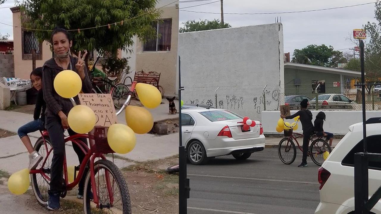 Sabinas: Madre de familia adorna su bicicleta y lleva a su hija a la caravana de autos para celebrar el Día del Niño