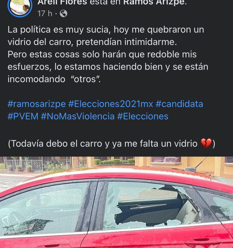 Atacan vehículo de la candidata del Verde Ecologista en Ramos Arizpe