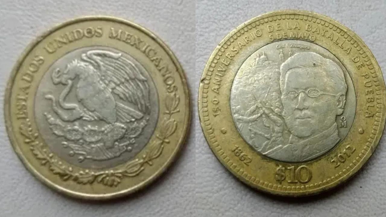 La moneda 10 pesos por el 150 aniversario de la Batalla de Puebla se compra por más de 15 mil pesos