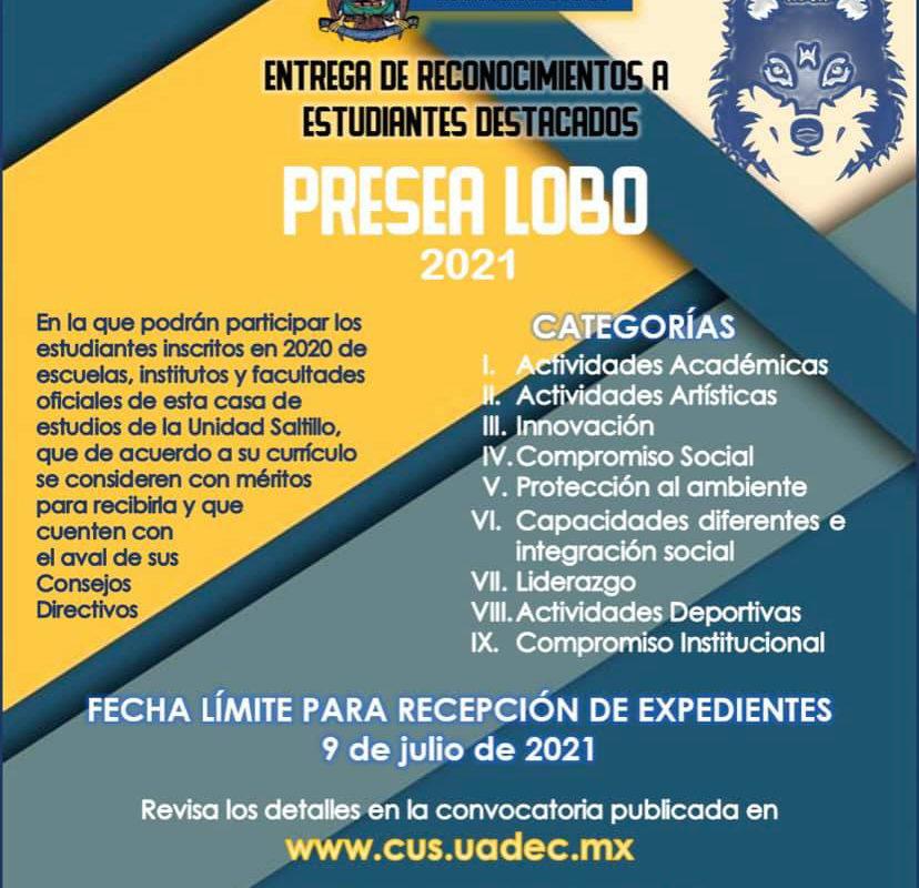 Convoca UAdeC a Estudiantes a Participar en la Presea Lobo 2021