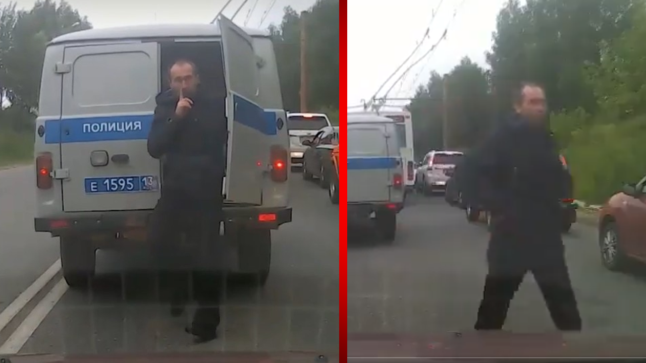 Delincuente intenta darse a la fuga de la policía en medio de un embotellamiento, pero es descubierto