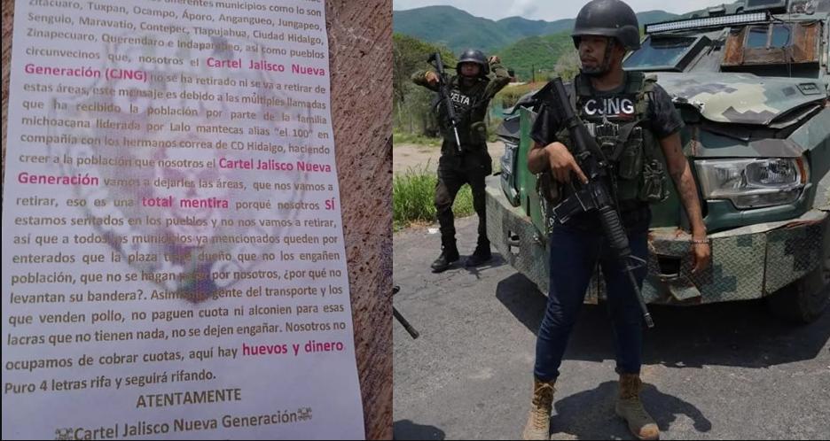 'Una total mentira, no nos vamos': CJNG marca territorio en Michoacán con narcomantas