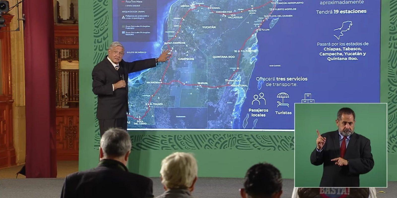Tren Maya recorrerá más de 1500 kilómetros en 5 estados; atraerá turistas en toda la región sur: AMLO