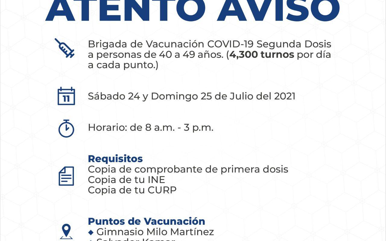 Aplicarán segunda dosis de la vacuna contra el Covid-19