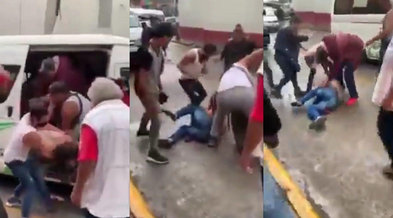 A patadas y empujones pasajeros bajaron a ladrón de autobús: Más de 7 personas arremetieron contra él