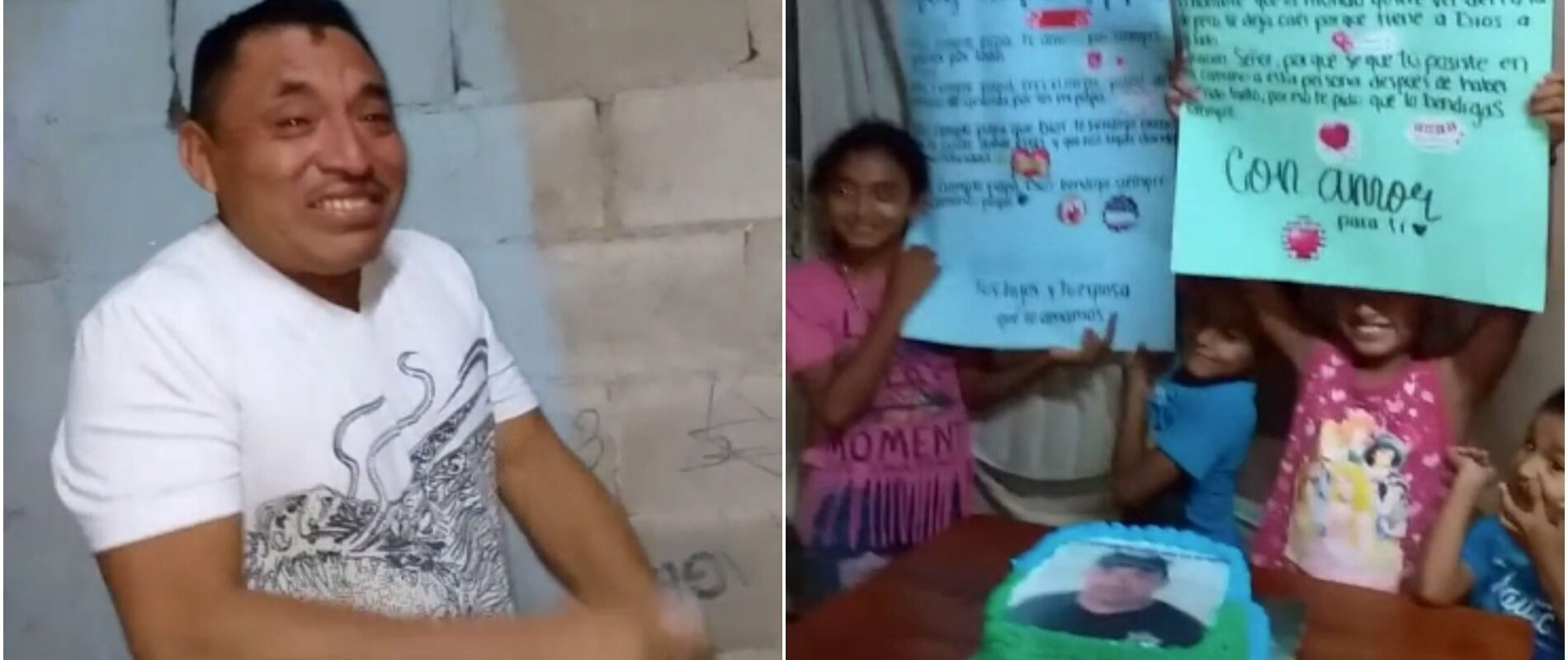 'Es el primer pastel que tengo en mi vida': hombre de bajos recursos llora en su cumpleaños