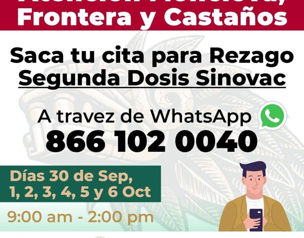 Anuncian vacunación para rezagados de segunda dosis de Sinovac en Monclova, Castaños y Frontera