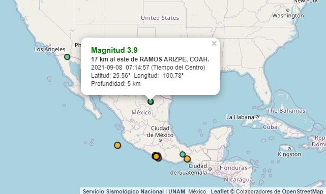 Tras sismo de 7.1 al sur de México, se registra movimiento telúrico de 3.9 en Ramos Arizpe