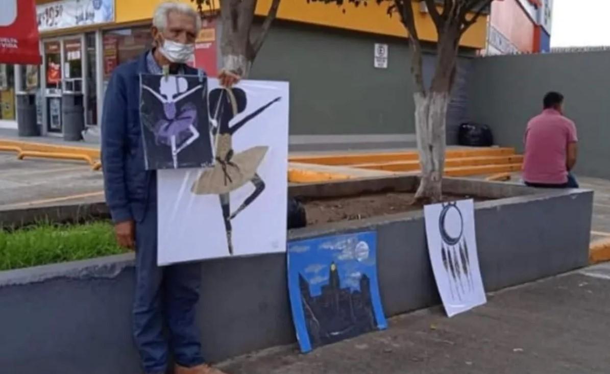 Don Mario sale a la calle a vender los dibujitos de sus nietas para sobrevivir; ellas quedaron huérfanas