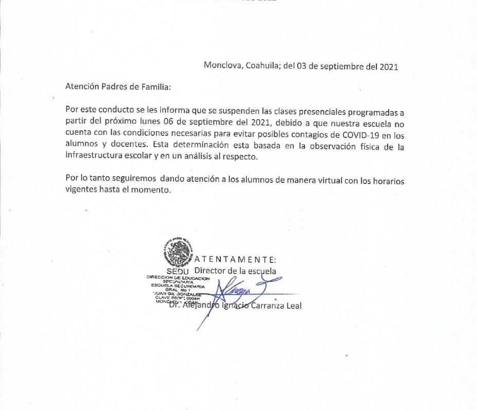 Molesta a padres de familia cancelación de clases híbridas en la Secundaria 1 de Monclova