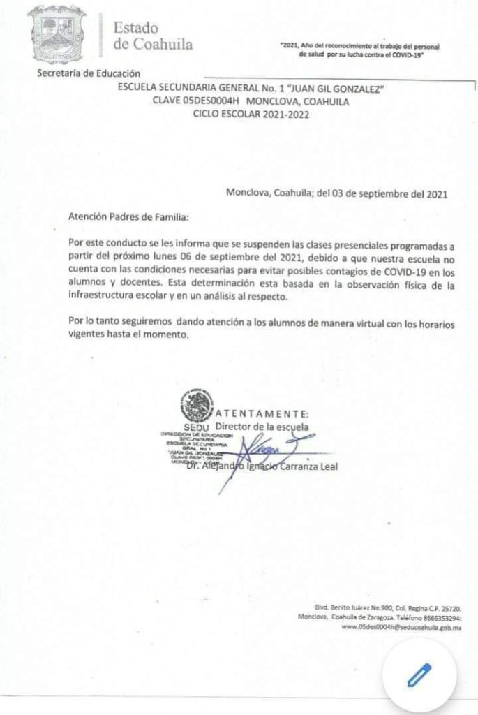 Suspenden clases presenciales en Secundaria Juan Gil: 'No podemos evitar posibles contagios'