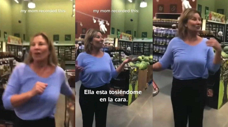 Mujer tosió sobre una madre y su hijo en un supermercado tras negarse a usar el cubrebocas