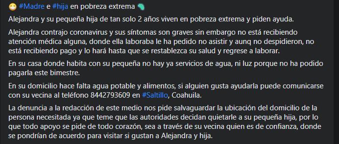 Alejandra y su hijita quedaron desamparadas en Saltillo: Madre se contagió de Covid y perdió su empleo