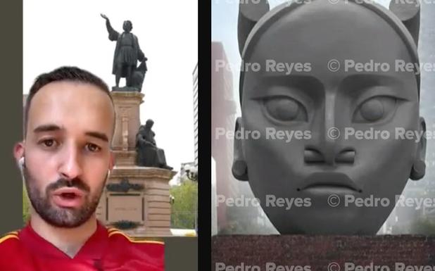 'Me parece una burrada'; tiktoker español explota contra AMLO por reemplazar estatua de Colón con indígena