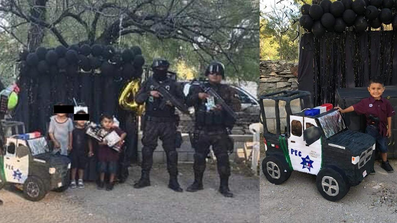 Son sus superhéroes: niño celebra su cumpleaños con el Mando Único de Coahuila