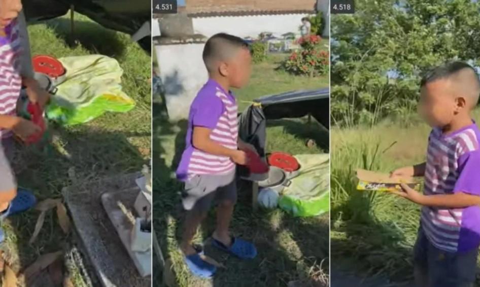 Conmociona video de niño 'viviendo' en el cementerio junto a la tumba de su mamá; resultó ser falso