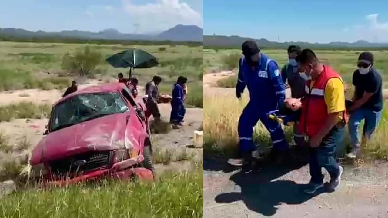 Quedan graves dos hombres tras volcadura sobre la 57: luchan por su vida en Sabinas