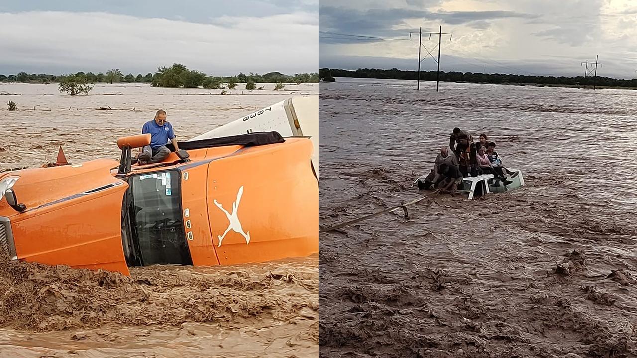 Familia y trailero quedan atrapados sobre sus autos por huracán Pamela en Nayarit