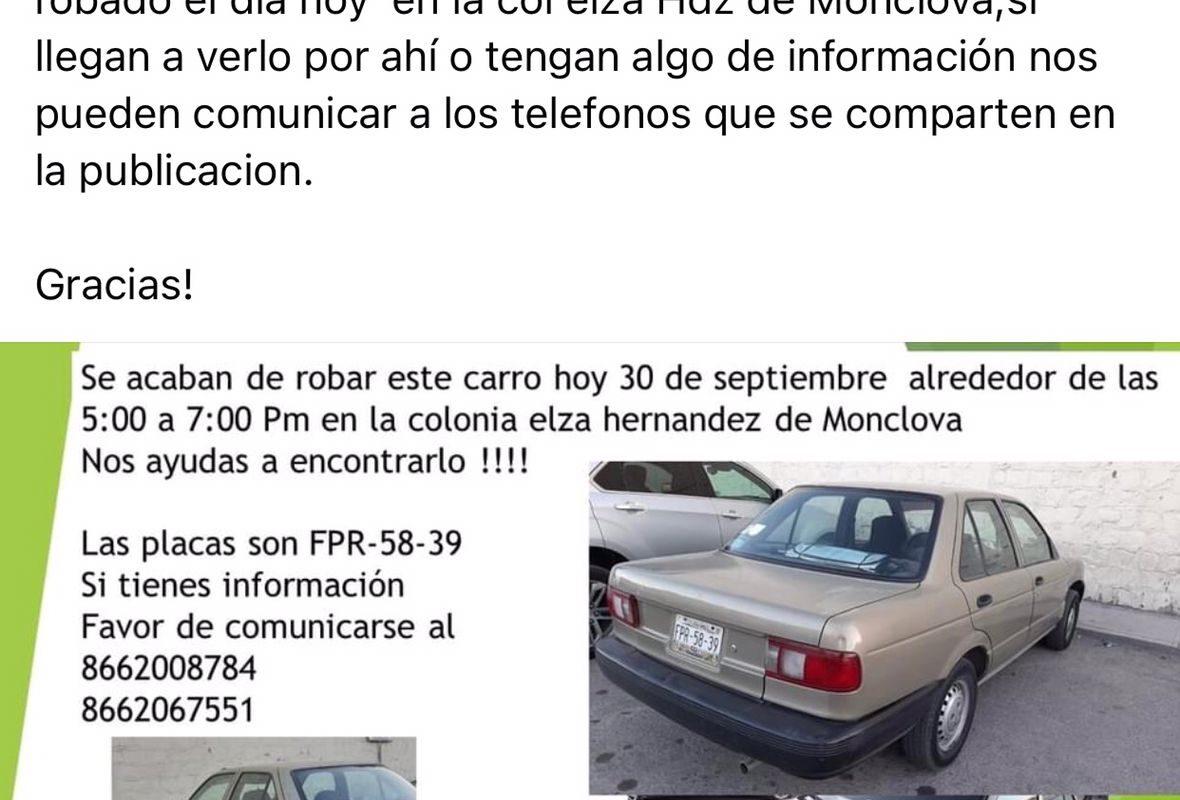 Le roban automóvil Nissan Tsuru y rastrea por Facebook rumbo que tomó al sujeto, en Monclova