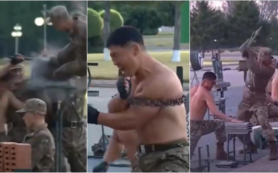 ¿Súper soldados? Norcorea exhibe a sus agentes rompiendo cadenas y muros solo con su cuerpo