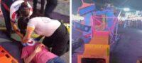 Terrible accidente en feria de Nuevo León: Juego mecánico falla y se desploma; hay 2 menores lesionados