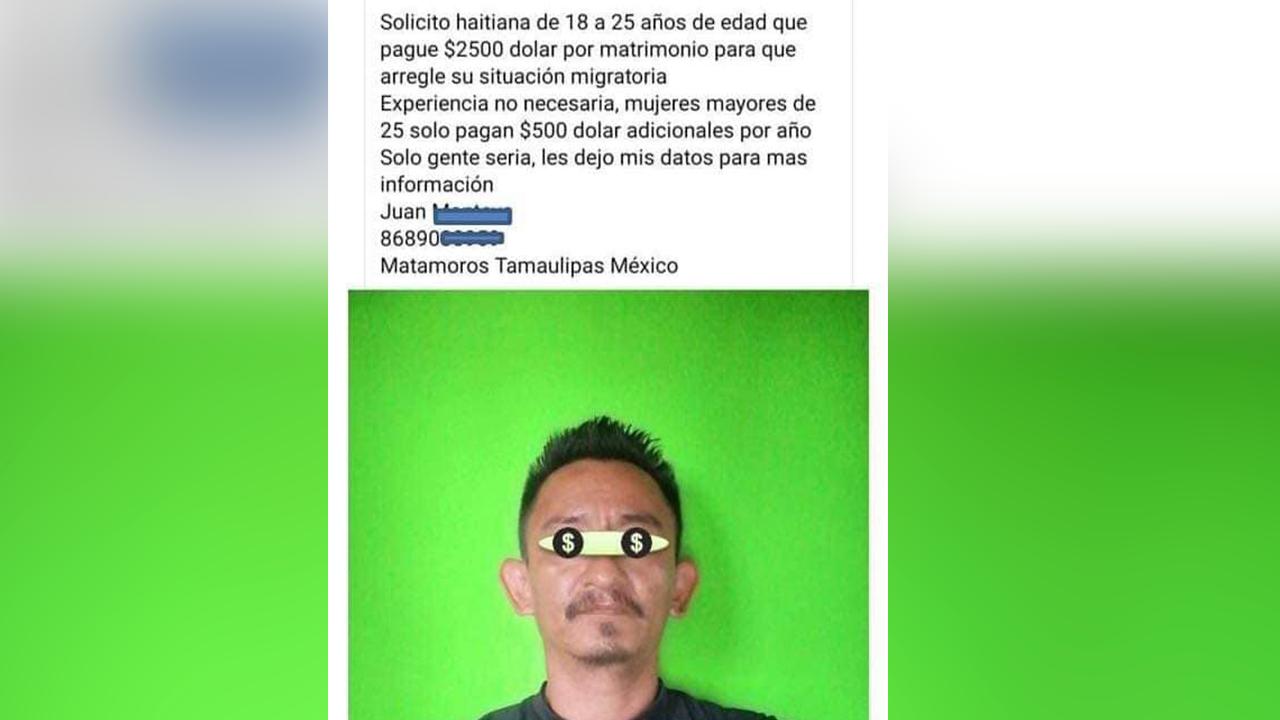 Se 'vende' mexicano a haitianas en Facebook : exige 2500 dólares para nacionalizarlas